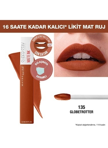 Maybelline Maybelline New York Super Stay Matte Ink City Edition Likit Mat Ruj - 135 Globe-Trotter Oranj